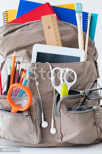 istock Backpack with school supplies 851547210