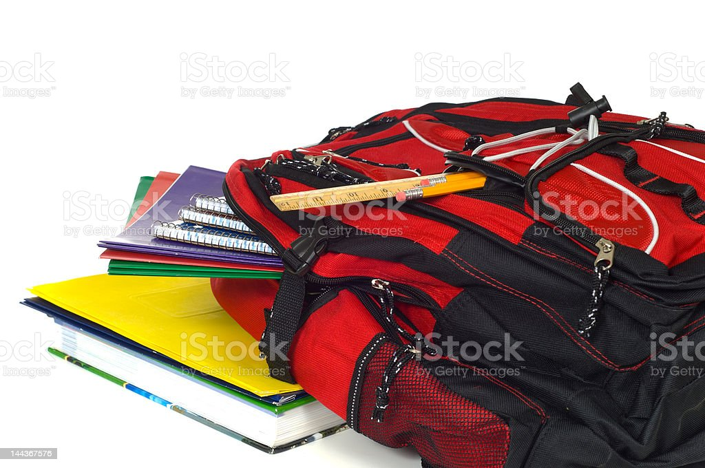 Backpack with supplies royalty-free stock photo