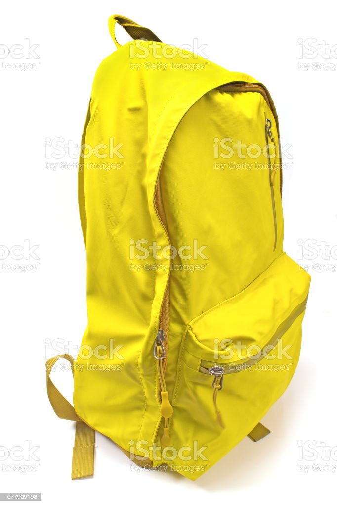 Backpack yellow isolated on white royalty-free stock photo