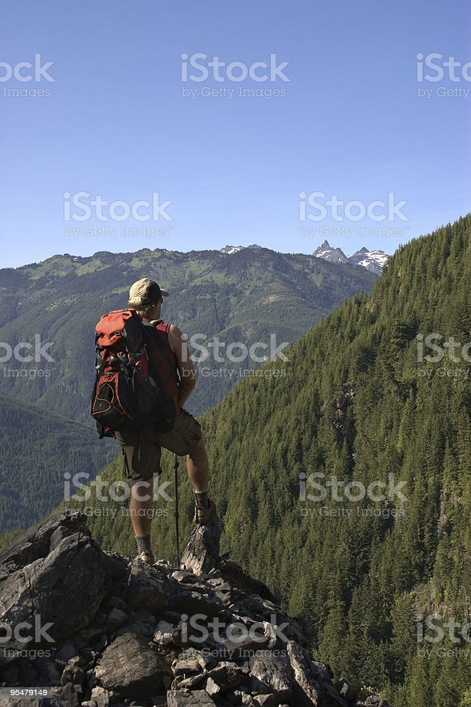 Backpacker at a lookout stock photo