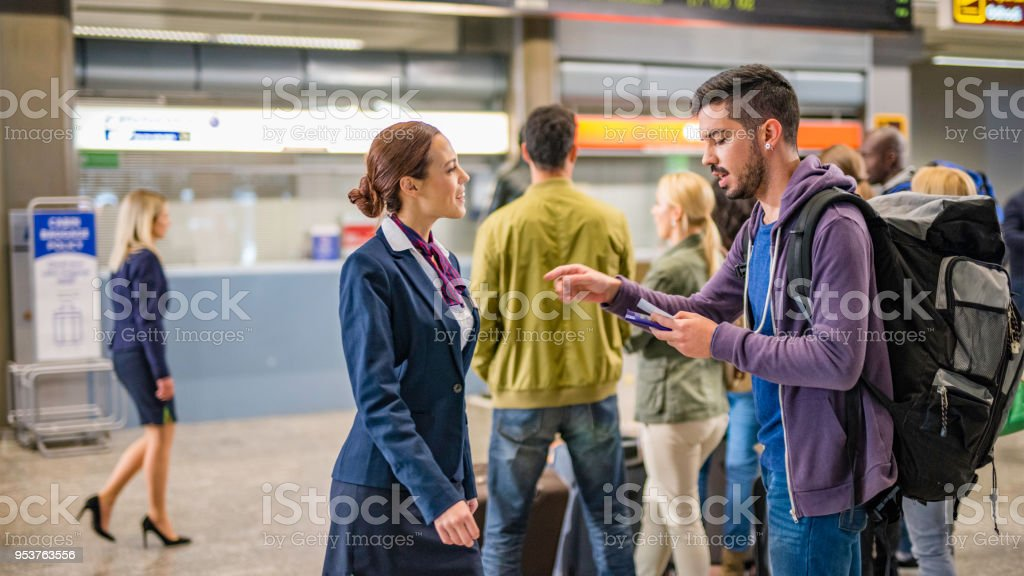 Backpacker at the airport stock photo