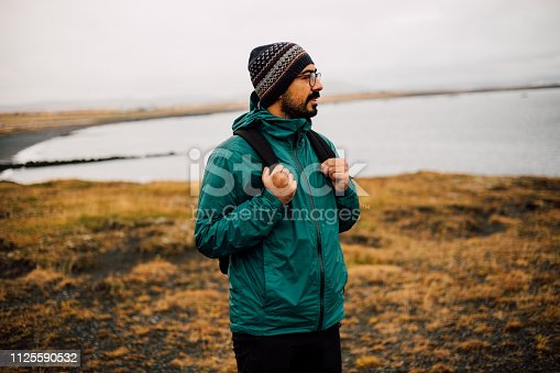 Backpacker Enjoying The View in Iceland