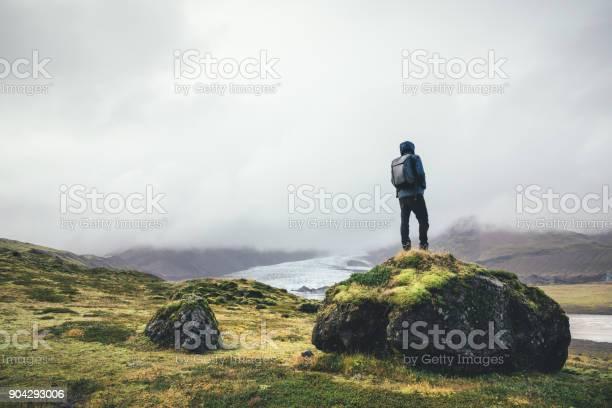 Photo of Backpacker Enjoying The View On Vatnajokull Glacier In Iceland