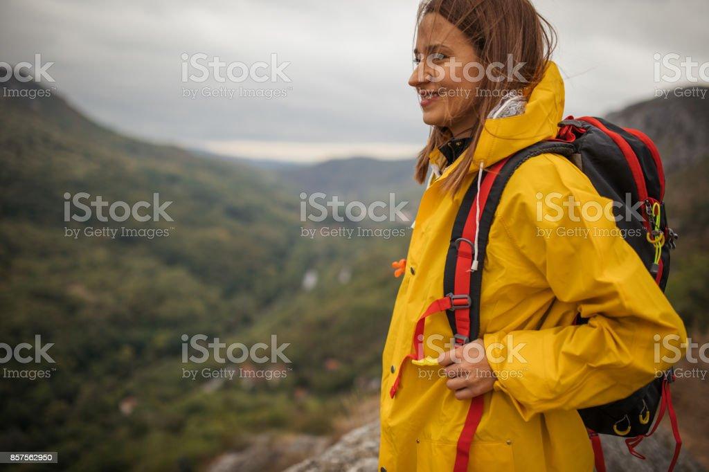Backpacker girl stock photo