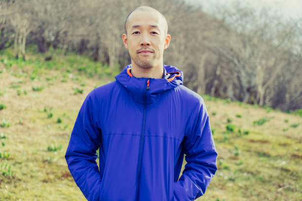 backpacker hiking in nature - satoyama scenery stock photos and pictures