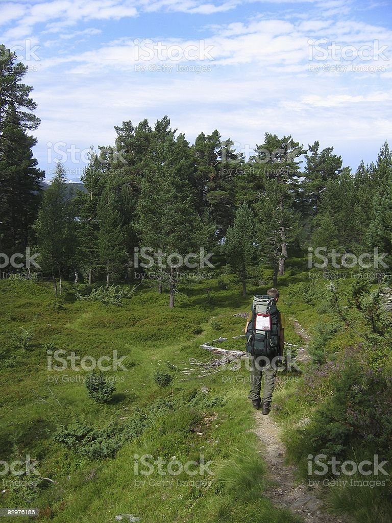 backpacker in the nature royalty-free stock photo