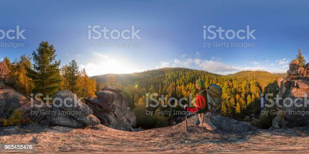 Backpacker on top of a rock fall at dawn spherical panorama 360 180 picture id963455476?b=1&k=6&m=963455476&s=612x612&h=oxo0yknmoumys8jj4pssfcuiq8hlhzdmtsxonnp3 ma=