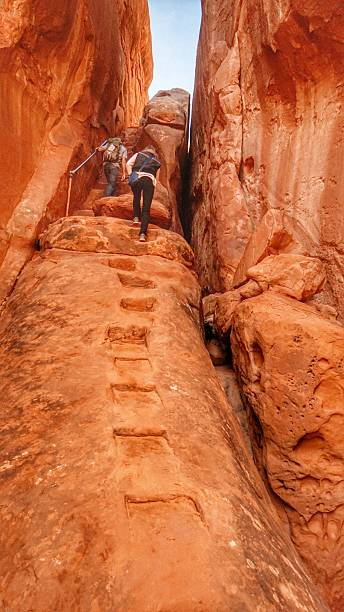 Backpacker People Hiking, Red Rock Fiery Furnace Backcountry, Arches, Utah stock photo