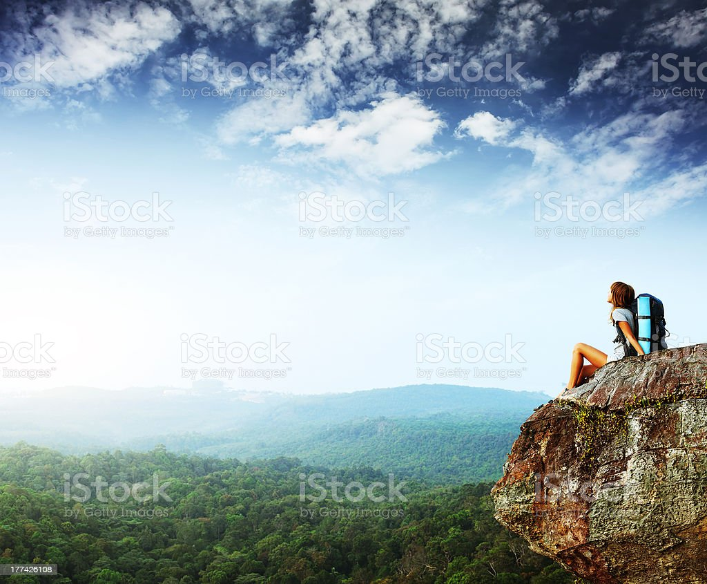 Backpacker stock photo