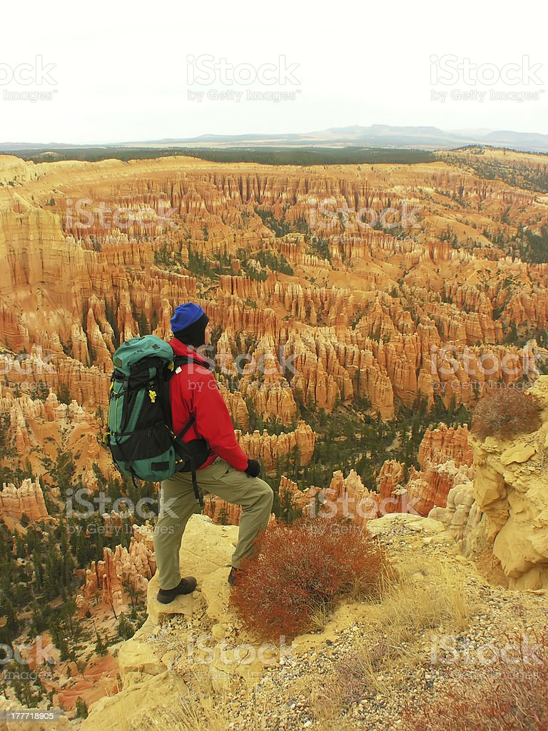 Backpacker resting at Inspiration Point, Bryce Canyon National Park royalty-free stock photo