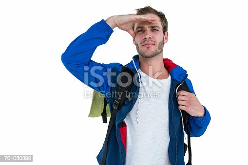 istock Backpacker searching something 701050396