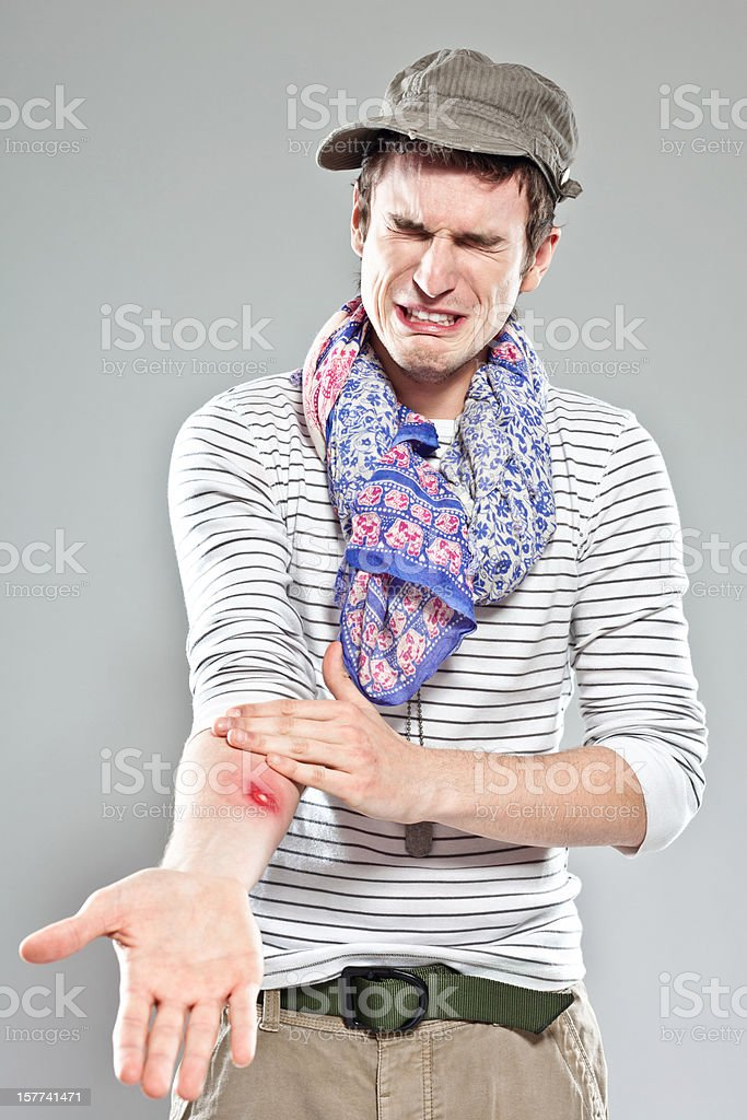 Backpacker showing insect bite royalty-free stock photo