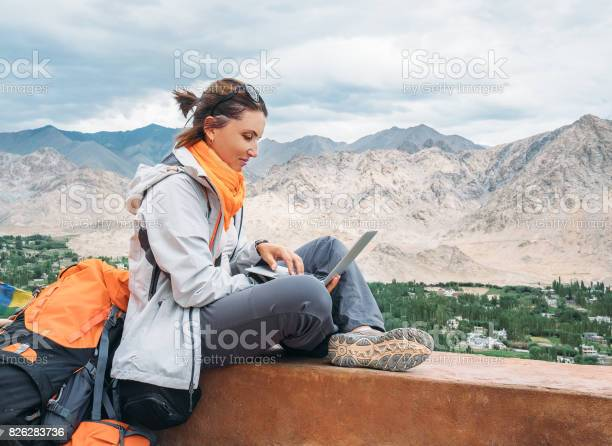 Backpacker with laptop sits on the top view point under mountain picture id826283736?b=1&k=6&m=826283736&s=612x612&h=gvsit6dh4ep4ckjq us u kkd0ikhogwrev9calolzu=