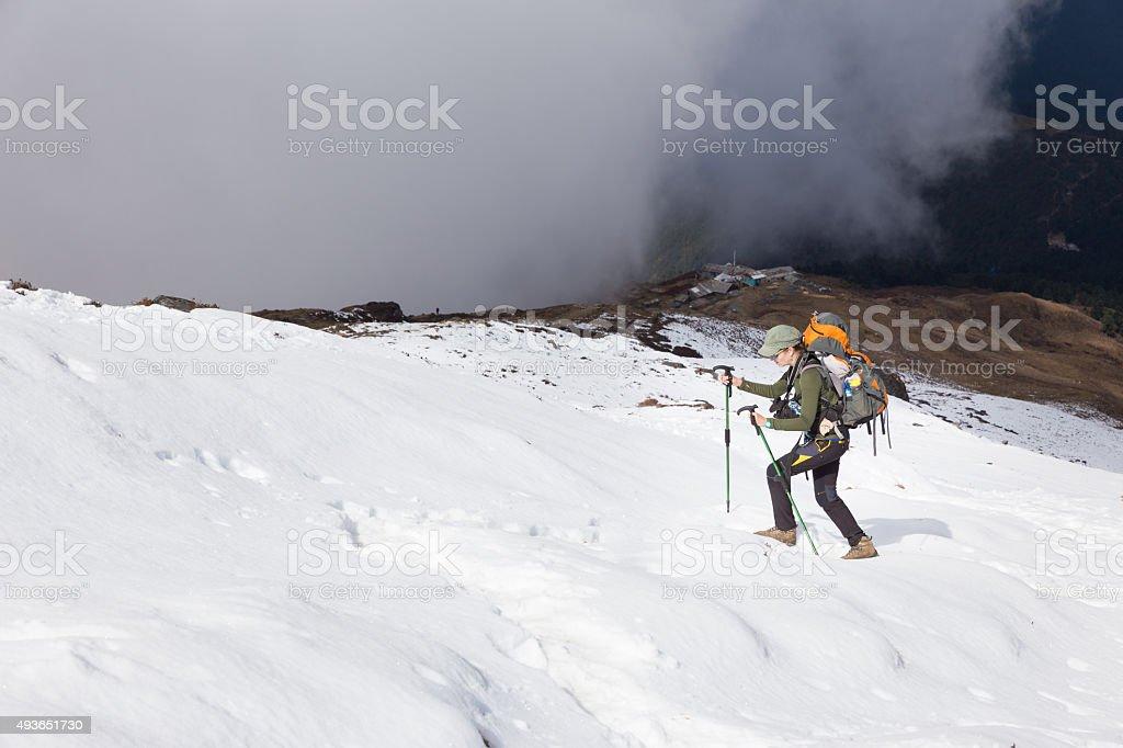 Backpacker woman ascending walking snow mountain. stock photo