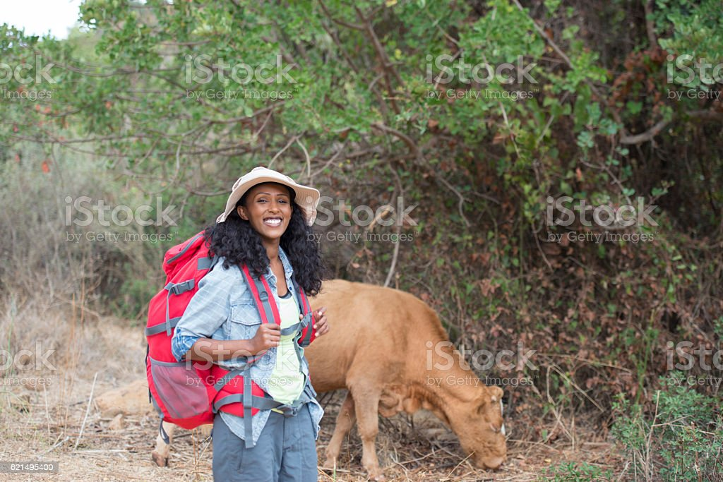 Backpacker woman outback. foto stock royalty-free