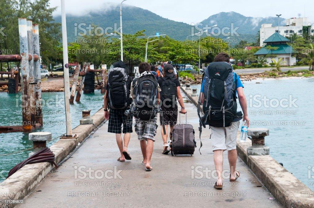Backpackers arriving on Ko Phangan stock photo