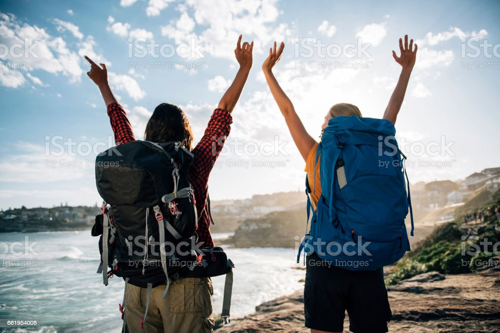 Backpackers at the top royalty-free stock photo