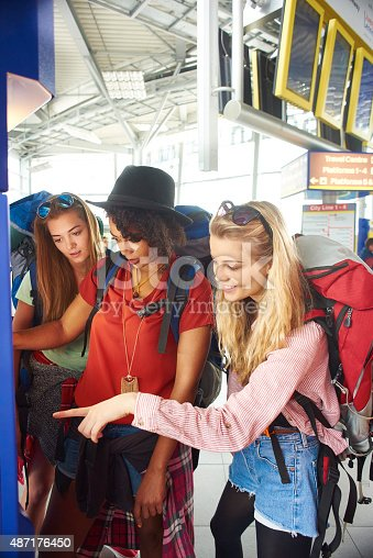 487056916 istock photo Backpackers get tickets for journey 487176450