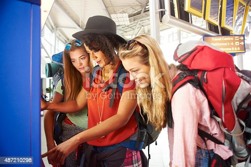 487056916 istock photo Backpackers get tickets for journey 487210298