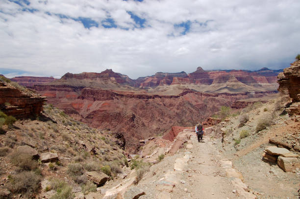 Backpackers in Grand Canyon stock photo