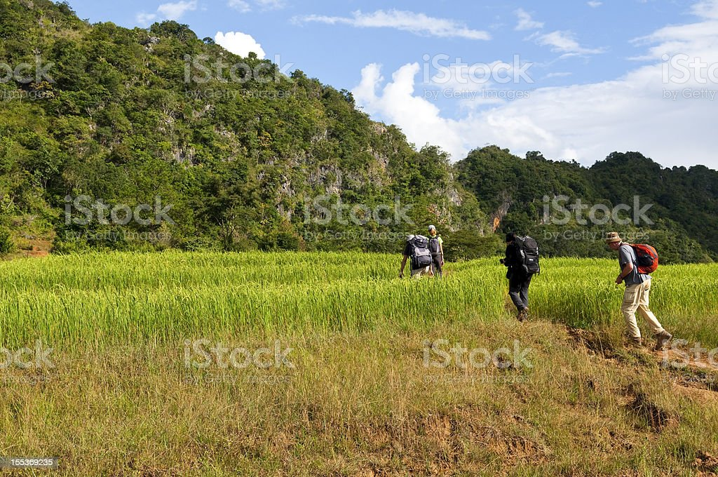 Backpackers in Southeast Asia royalty-free stock photo