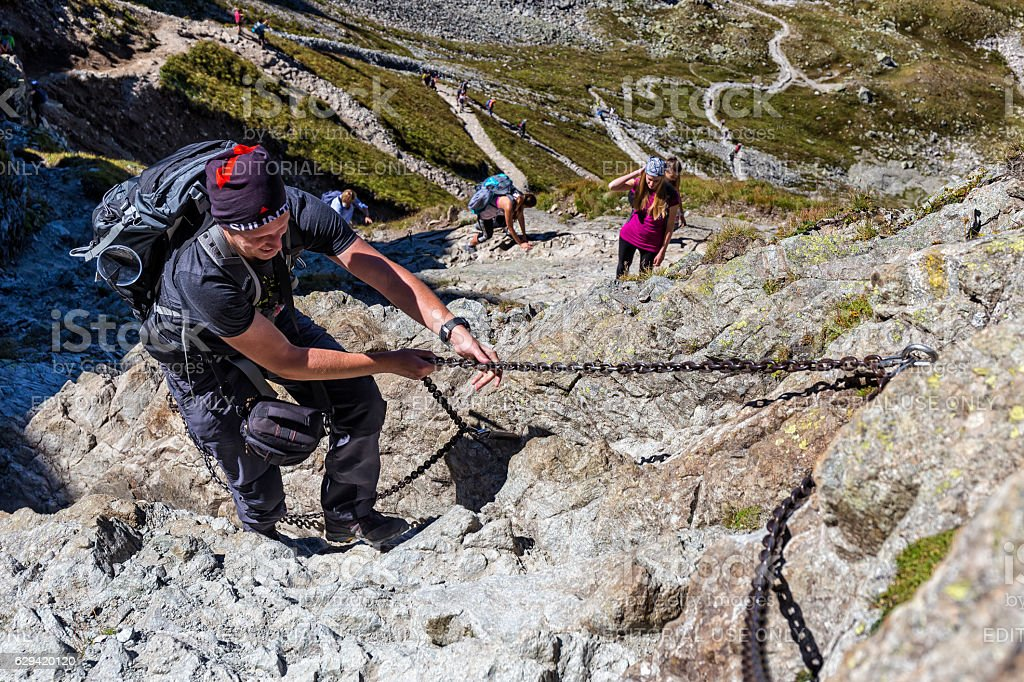 Backpackers in the Tatra Mountains, Poland stock photo