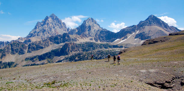 Backpackers in the Tetons stock photo