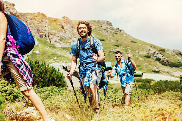 Backpackers on a footpath in the mountain Group of hikers walking on a footpath in the mountain, with copy space nordic walking stock pictures, royalty-free photos & images