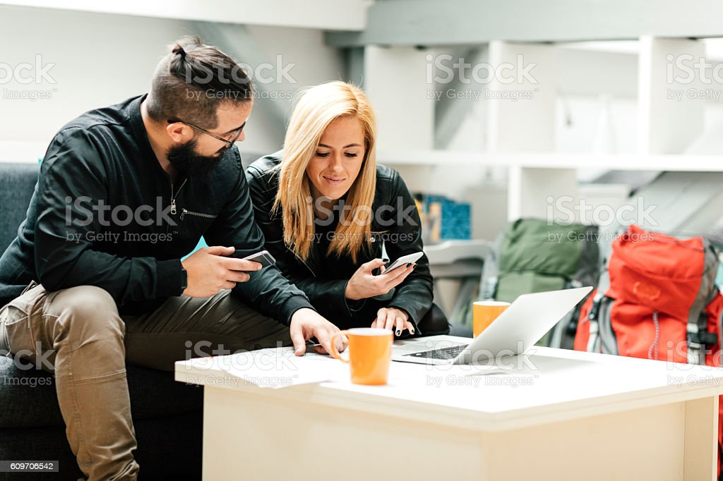 Backpackers Rented For Apartment Online. stock photo