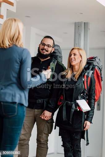 istock Backpackers renting apratment 509559350