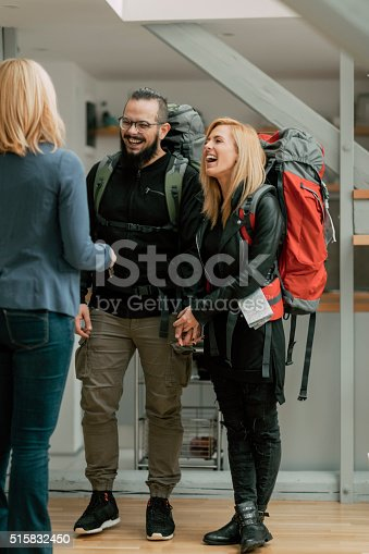 istock Backpackers renting apratment. 515832450