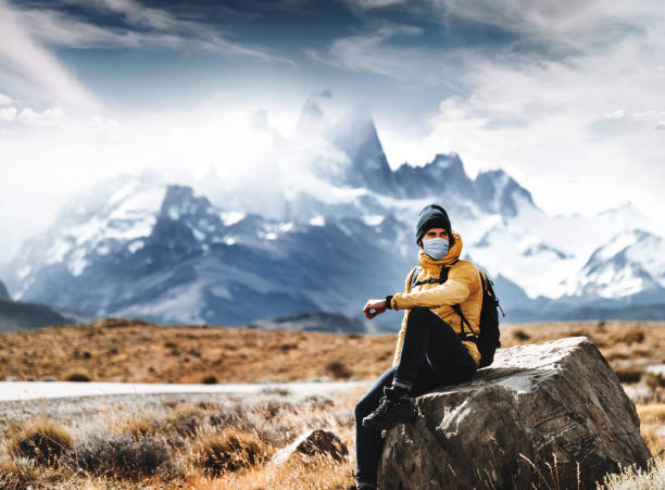 backpacking at time of corona virus stock photo