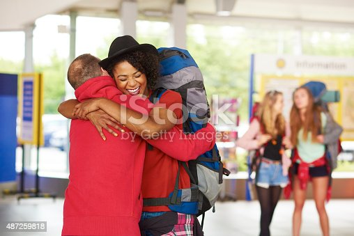 487056916 istock photo Backpacking friends arrive home to loved ones 487259818