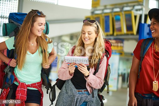 487056916 istock photo Backpacking friends in check map for their next journey route 487067470