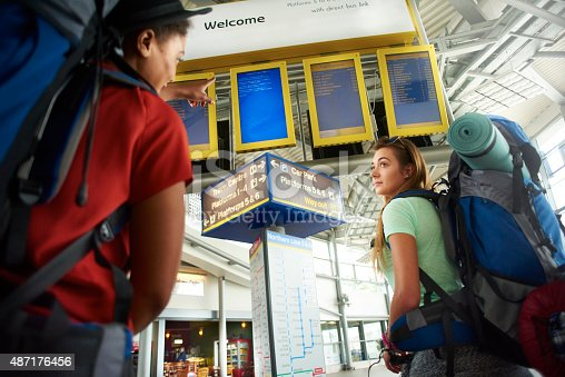 487056916 istock photo Backpacking friends in terminal building check departure boards 487176456