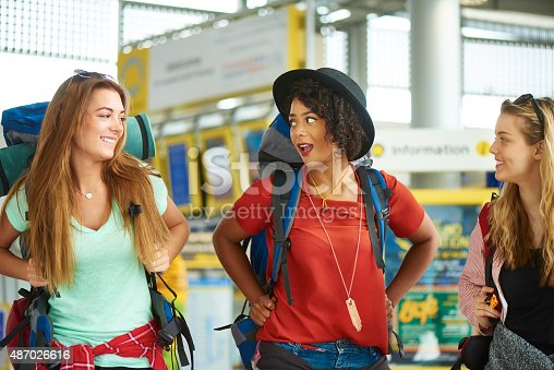 487056916 istock photo Backpacking friends in terminal building 487026616