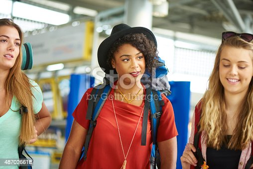 487056916 istock photo Backpacking friends in terminal building 487026618
