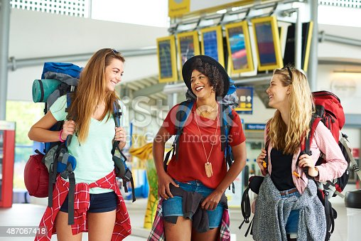 487056916 istock photo Backpacking friends in terminal building 487067418