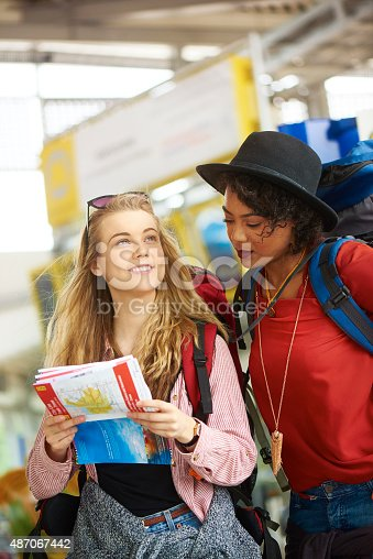487056916 istock photo Backpacking friends in terminal building 487067442