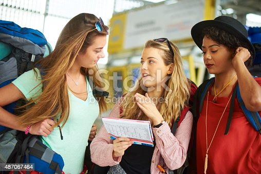 487056916 istock photo Backpacking friends in terminal building 487067464
