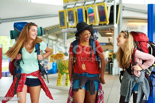 487056916 istock photo Backpacking friends in terminal building 487100010