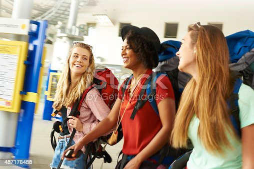 487056916 istock photo Backpacking friends in terminal building 487176488