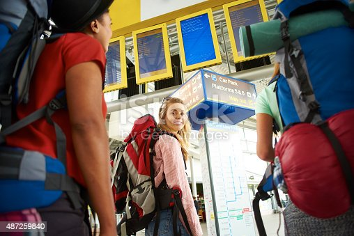 487056916 istock photo Backpacking friends in terminal building 487259840