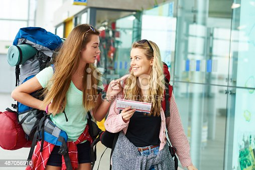 487056916 istock photo Backpacking friends undertake the next part of their journey 487056910