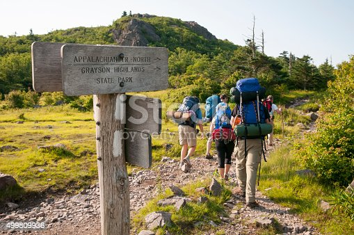 A group of friends begin a three-day hike on the Appalachian Trail, starting in Grayson Highlands State Park at Elk Garden, on Highway 600. The first night will be spent near Mount Rogers.