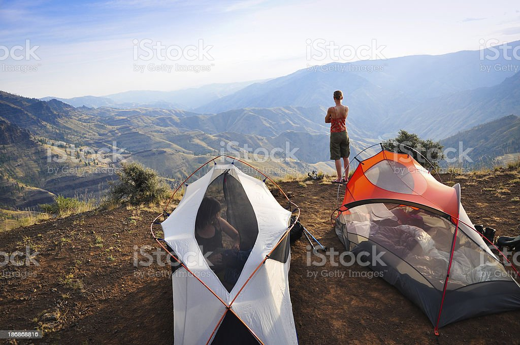 Backpacking Morning stock photo