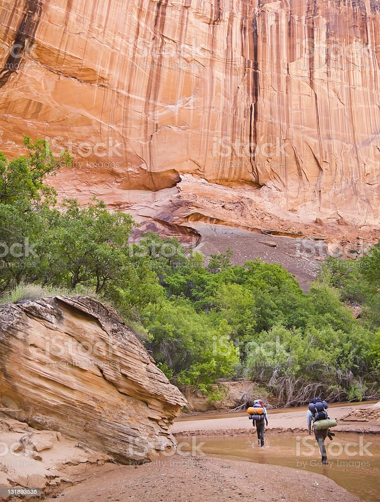 Backpacking the narrows stock photo