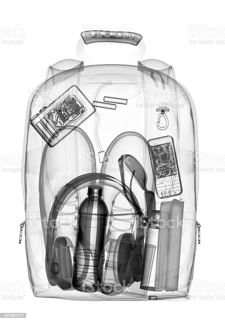 Backpacking under xray on security control. 3D illustration. – Foto