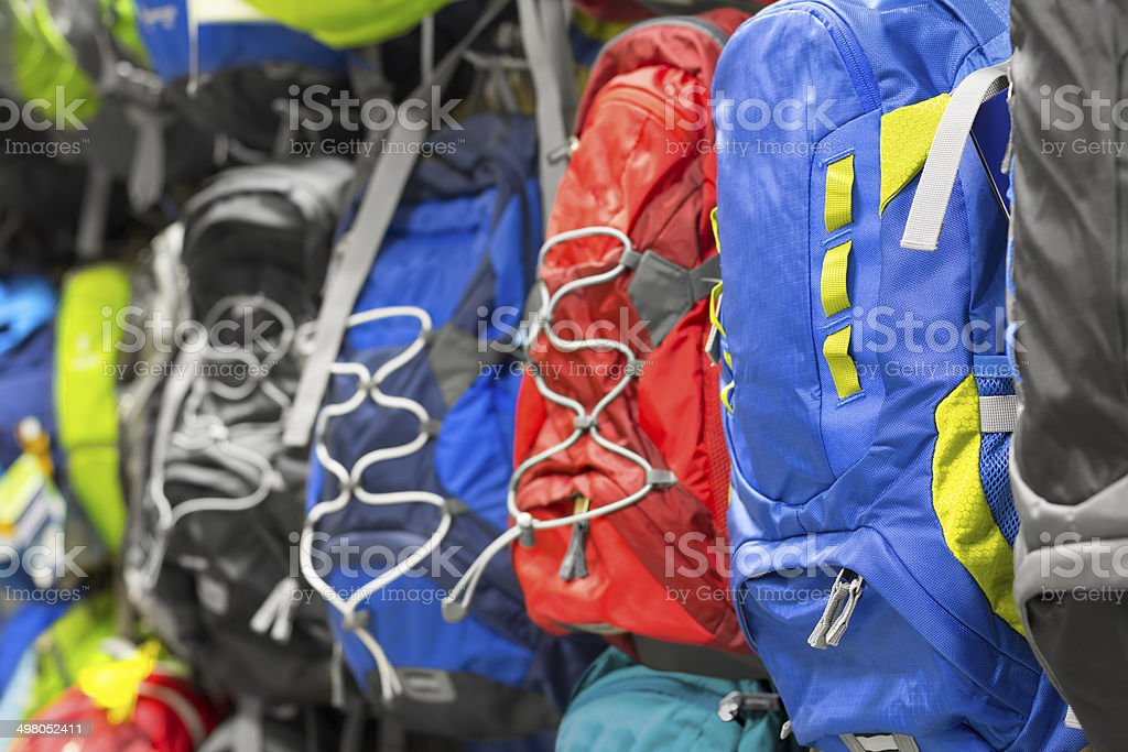 Backpacks in the store. stock photo