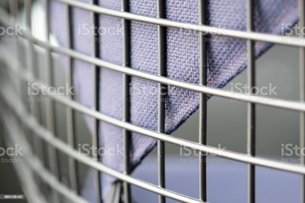 Backrest and upholstery of a office chair in a meeting room stock photo